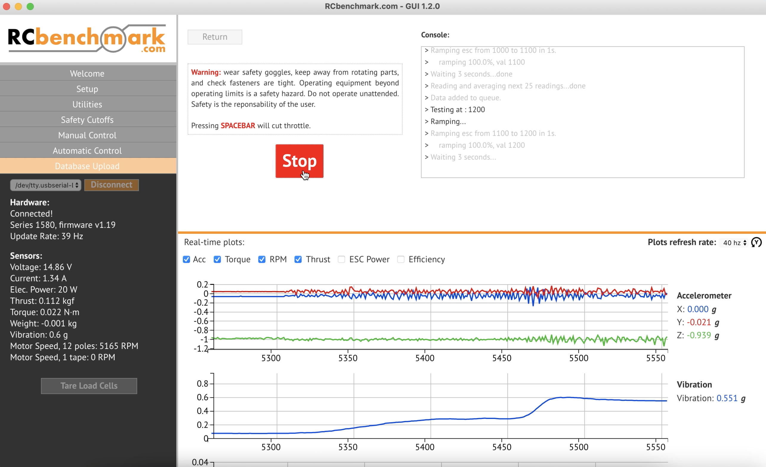 propulsion test in progress with automated test script